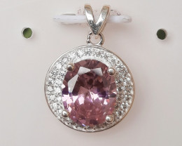 Artificial synthetic Stone 925 silver pendant with CZ
