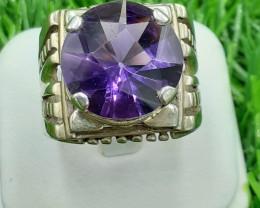 Natural Amethyst Top Class Cut 925 Silver Ring