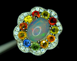 Natural AAA Fire Opal,Multi Sapphire ,CZ 925 Silver Amazing Design Ring