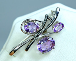 Natural 3 Pis Amethyst 925 Silver Amazing Brooche