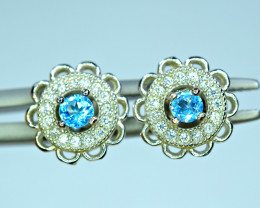Natural 2Pis Swiss Blue Topaz ,CZ 925 Silver Earrings