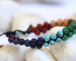 7 chakra Gemstones,double weave  Bracelet AHA  62