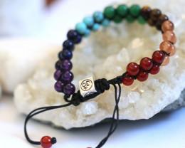 7 chakra Gemstones,double weave  Bracelet AHA  626