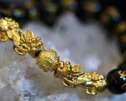 Tibetan Agate Stone Mantra Dragon Prayer Beads Energy Bracelet AHA 637