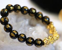 Tibetan Agate Stone Mantra Dragon Prayer Beads Energy Bracelet AHA 638