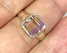 Natural 21.00 Carat Bi-Color Ametrine Hand Made 925 Silver Ring.