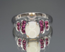 Natural Opal and Rhodolite Garnet 20.54 Cts Silver Ring