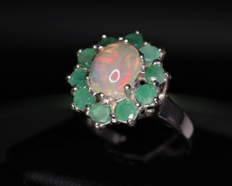 Attractive Natural Fire Opal, Emerald & 925 Fancy Sterling Silver
