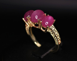 Gorgeous Natural Ruby & 925 Fancy Yellow Sterling Silver