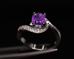 Attractive Natural Amethyst, CZ & 925 Fancy Sterling Silver