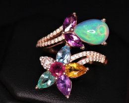 Gorgeous Natural Multi Stones, CZ & 925 Stylish Rose Gold Sterling Silver