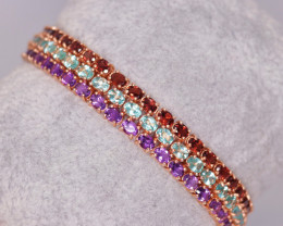 Gorgeous Natural Multi Stone & 925 Stylish Rose Gold Sterling Silver