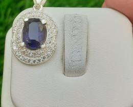 Natural Iolite 925 Silver Pendant