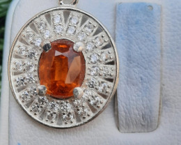 Natural Spessartite Garnate 925 Silver Pendant