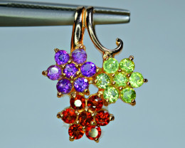 Natural 21 Pis Mix Multi Stones 925 Silver Gold Plated Nice Pendant