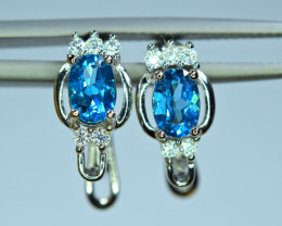 Natural 2 Pis London Blue Topaz Amazing 925 Silver Earrings