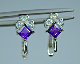 Natural 2Pis Amethyst , CZ 925 Silver Special Earring