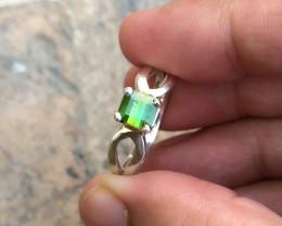 17.15 Ct Natural Green Transparent Tourmaline Gemstone Ring