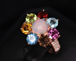 Fabulous Natural Multi Stones, CZ & 925 Stylish Rose Gold Sterling Silver