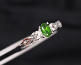 Attractive Natural Chrome Diopside, CZ & 925 Fancy Sterling Silver