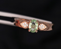 Attractive Natural Sapphire, CZ & 925 Fancy Rose Gold Sterling Silver