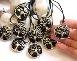 Wholesale 10 pcs Tree Of Life Black Sunstone Pendant   AHA 683