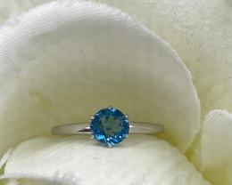 Modern Style Blue Zircon Sterling Silver 925 Ring