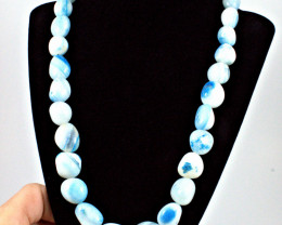 563.5 Tcw, Natural Blue Onyx 20 Inch Necklace - Gorgeous
