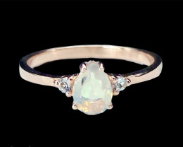 Stunning Opal+White Topaz Rose Gold Platted Silver925Ring. DOT124
