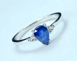 Graceful Blue Sapphire +White Topaz Silver925Ring.DST125