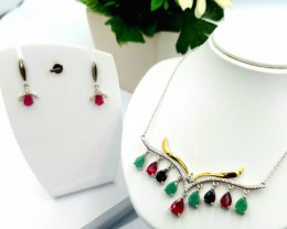 Natural Emerald Sapphire And Ruby Set