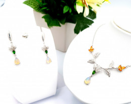 Natural Opal Chrome Diopside And Citrine Set