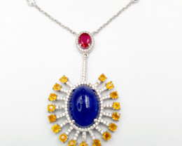Natural Tanzanite Sapphire And Ruby Necklace
