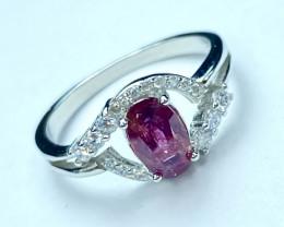 1.74ct. Elegant Ruby Untreated Mozambique Gemstone. Silver925Ring. DRB218