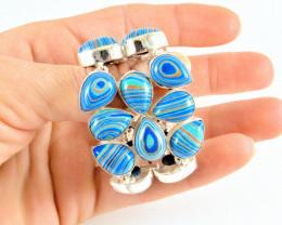 304.0 Tcw. Rainbow Calsilica Sterling Silver Bracelet - Beautiful