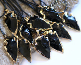 Wholesale 10 pcs Large Obsidian arrow Pendants  AHA 735