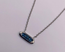 Natural Blue Diamond 0.23 Ct And Topaz ~ Silver Necklace