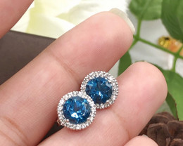 Stylish Natural London Blue Topaz And White Topaz  Silver Earring