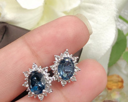 Stylish Natural London Blue Topaz  Silver Earring