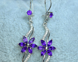 Natural 14Pis Amethyst , CZ 925 Silver Special Earring