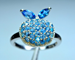 Natural new Design London Blue Topaz 925 Silver Amazing Ring