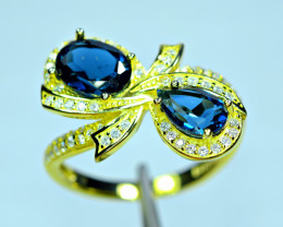 Natural AAA 2Pis London Blue Topaz ,CZ 925 Silver Gold Plated Ring