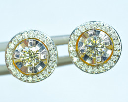 18K Yellow Gold with  3.5 &3.6 mm& Several Small VVS Diamond Earrings