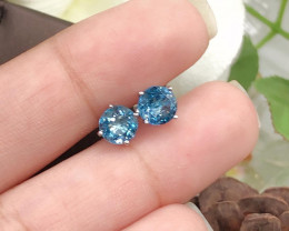 *NoReserve*Stylish Natural London Blue Topaz  Silver Earring