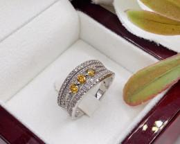 Stylish Natural Yellow Diamond And Topaz Ring ~ Silver