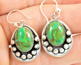 51.0 Tcw. Copper Mohave Green Turquoise 9.25 Sterling Silver Earrings - Gor