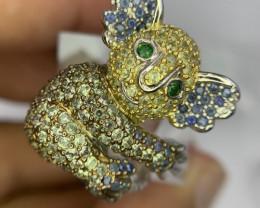 Natural Kola bear Sapphire and Tsavorite Ring.