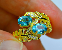 Natural 2Pis Paraiba Blue Apatite ,CZ 925 Silver Gold Plated  Ring