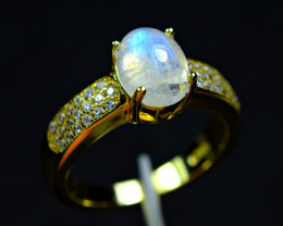 Natural Huge Rainbow Moonstone ,CZ 925 Silver Gold Plated Ring