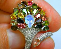 Natural  Mix Tourmaline, Rainbow Moonstone, CZ Amazing 925 Silver Ring